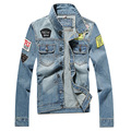 Otoño nueva llegada hombres americanos trucker jean chaquetas de algodón de la vendimia abrigo denim masculino outwear 3XL 4XL 5XL ACL18