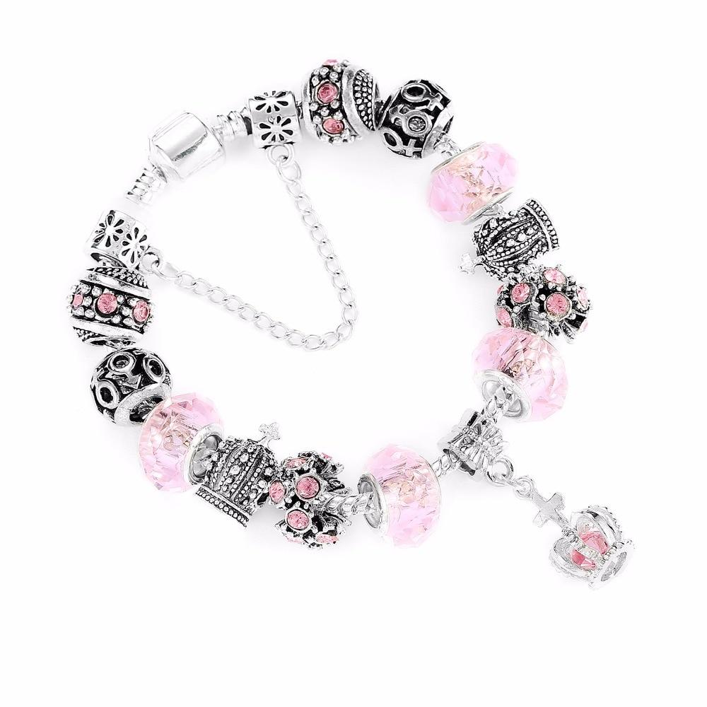 167a871847bc 2018 nueva Rosa antiguo encantos de diamantes de imitación pulsera ...