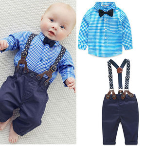 2017 Spring Autumn Baby Newborn Set Bow Plaid Top Overalls Gentleman Infant Set Christening Suits For Boys Baby Outfit Clothing