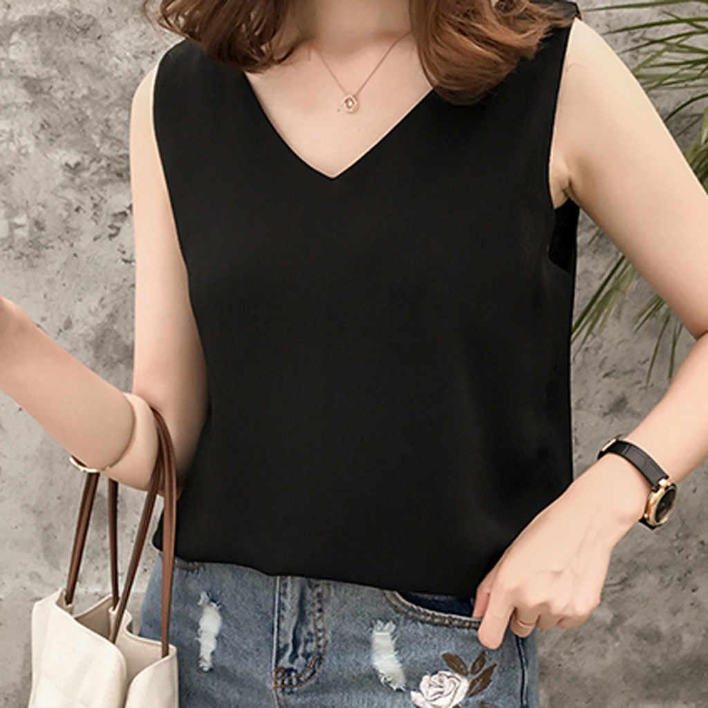 Zomer Top Vrouwen Effen Kleur Losse V-hals Mouwloze Chiffon Top vrouwen kleding 2019 Tops nieuwe Shirts shein vadim