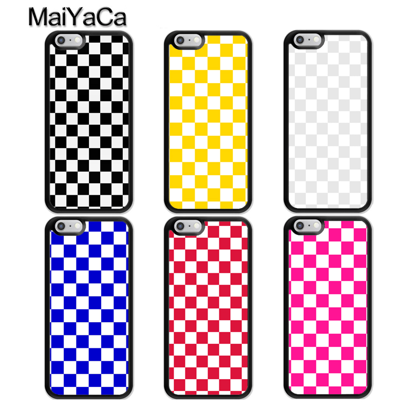 buy online 1d907 7834b MaiYaCa Checkerboard Checkered Case For iPhone 8 7 6 6S Plus 5S Case TPU  Coque For iPhone X XR XS MAX Back Cover Fundas