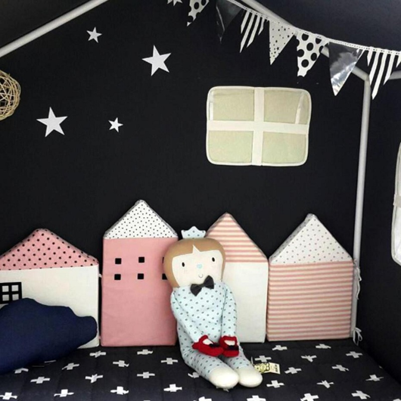 4pcs/set Cute Cartoon House Shape Multi-function Cushion Pillow Baby Bed Bumpers Crib Room Decoration Nordic Style Photo Props baby bed curtain kamimi children room decoration crib netting baby tent cotton hung dome baby mosquito net photography props