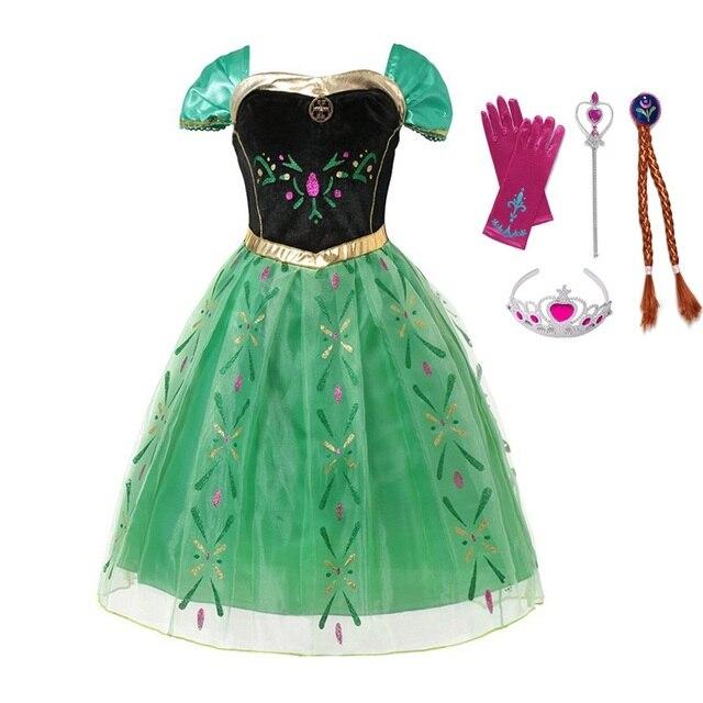 VOGUEON/платье принцессы Эльзы и Анны для девочек, костюм для коронации, детское платье без рукавов с цветочным принтом для костюмированной вечеринки на Хэллоуин для детей 3-10 лет