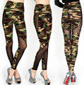 S-XL High Quality Women's Stitching Gauze Leggings Sexy Plus Size Camouflage Stretch Trouser High Waist Army Leggings Pants