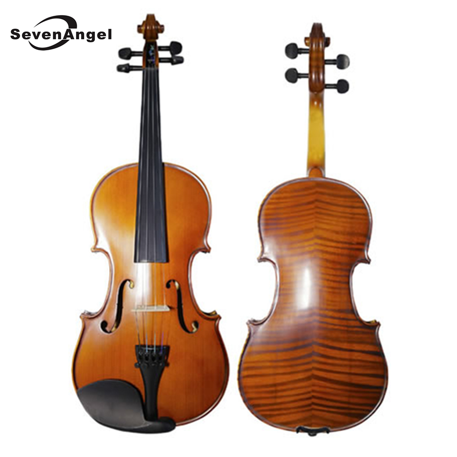 SeveAngel Solid Wood Violin 4/4 3/4 1/4 1/8 Craft Stripe Violino Fiddle Stringed Music Instrument Violino for Beginner Students for kids w case mute bow strings students beginner acoustic violin oil varnish craft stripe solid wood violino violin 4 4 3 4