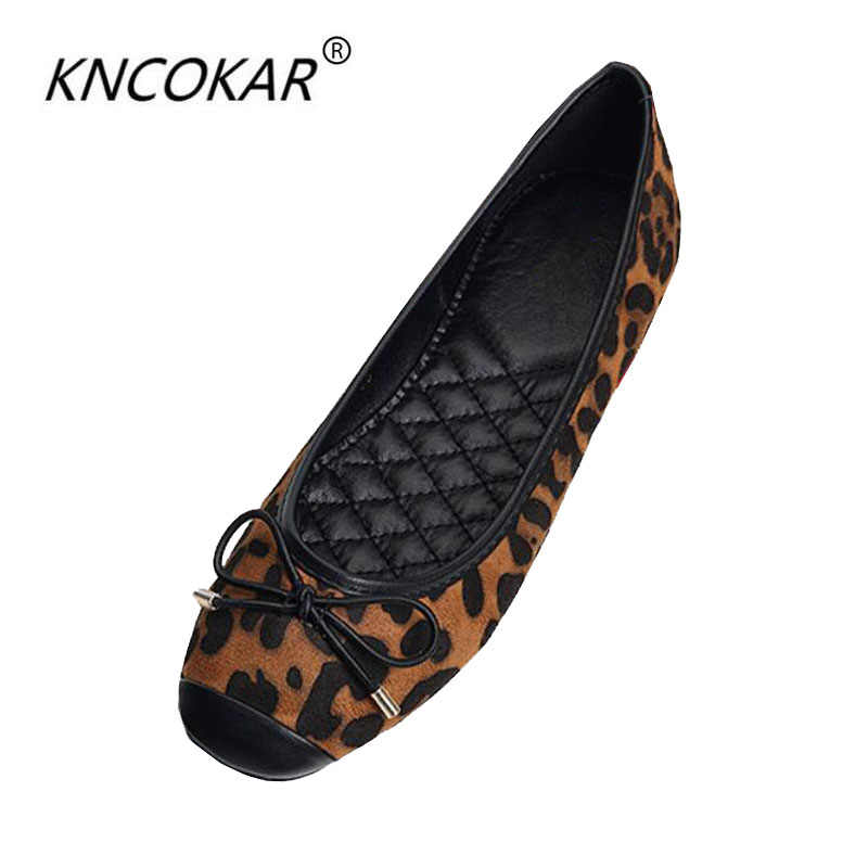 KNCOKAR2018 รอบหัวใหม่ fund of ฤดูใบไม้ร่วงปาก bow leopard รองเท้าต่ำและรองเท้าแบน sole