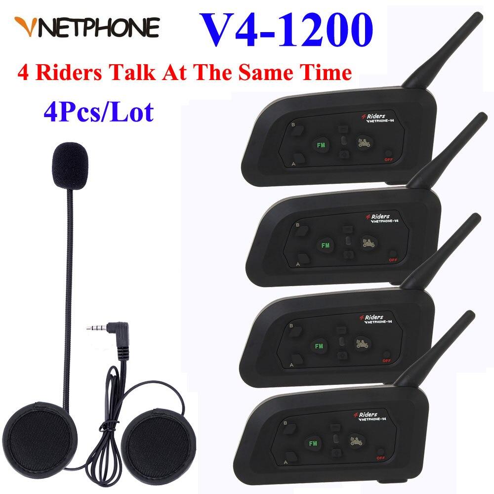 4 pièces V4-1200 4 coureurs Bluetooth interphone casque Moto casque Moto communicateur casques BT interphone casque casque