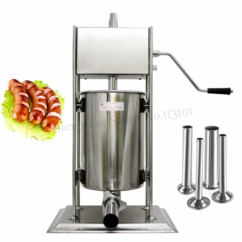 Commercial Stainless Steel 15Liter Churros Machine Vertical Manual Sausage Stuffer Meat Sausage Filling Machine