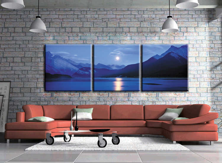 3 Piece בד ירח ציור ים לילה סצנה באיכות גבוהה עיצוב מסגרת תמונות קיר תמונות לסלון QJFJ3-42