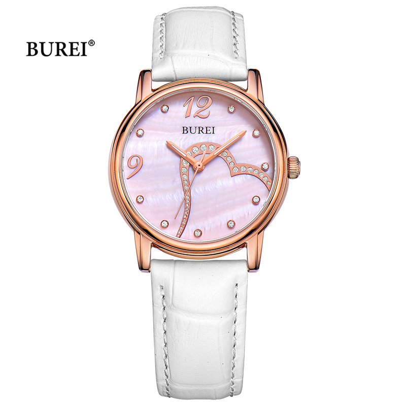 BUREI Brand Watches Waterproof Fashion Leather Band Ladies Sapphire Crystal Quartz Wrist Watch Clock Women Gold 2017 Reloj Mujer 2017 sanwood brand ladies watches fashion white leather band analog quartz rhombic case wrist watch for women gift reloj mujer