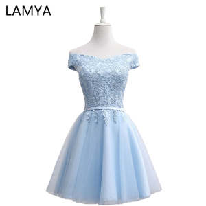 LAMYA Occasion-Gowns Prom-Dresses Lace Special Evening Elegant Short Fashion Cheap A-Line