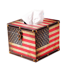 Creative Fashion PU Removable Tissue Boxes Old Style Home Decor American Leather Box Canister Cases