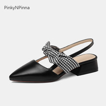 women's slingback pumps black block heel real cow leather plaid fabric bow tie summer cover toe elegant dress shoes for party pu square toe block heel slingback pumps