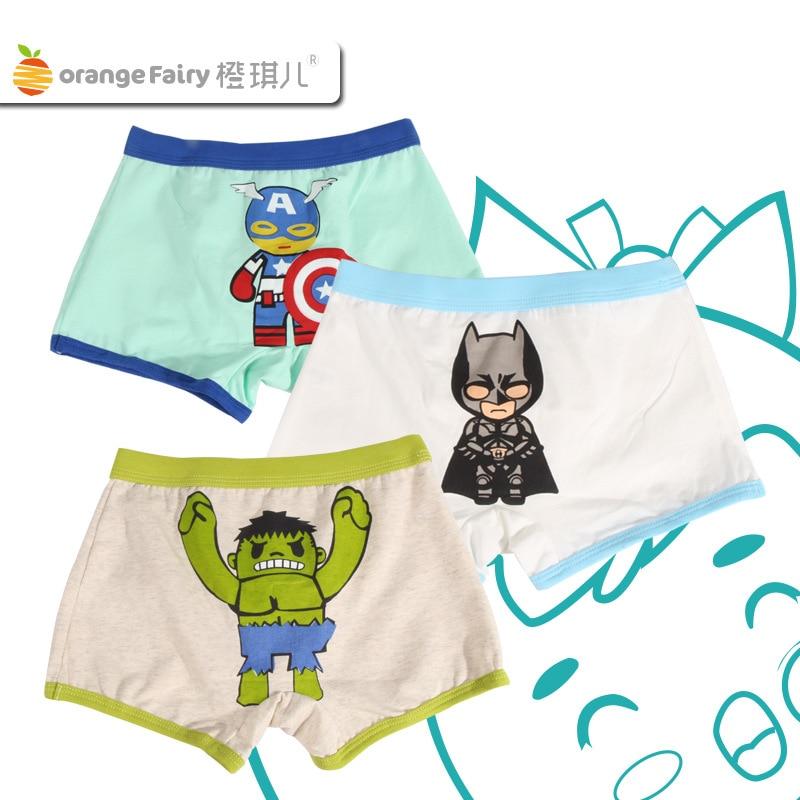 5pcs Captain America hulk cartoon Children boy cotton underwear Boxer shorts
