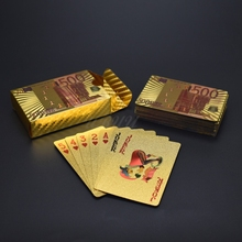 Gold Playing Cards 500 Euro Waterproof Plastic Magic Card For Bar Game