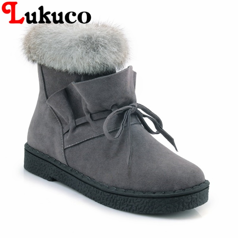 2018 Lukuco warm women boots plus size 42 43 44 45 snow boots PU leather fur design shoes with short plush inside free shipping