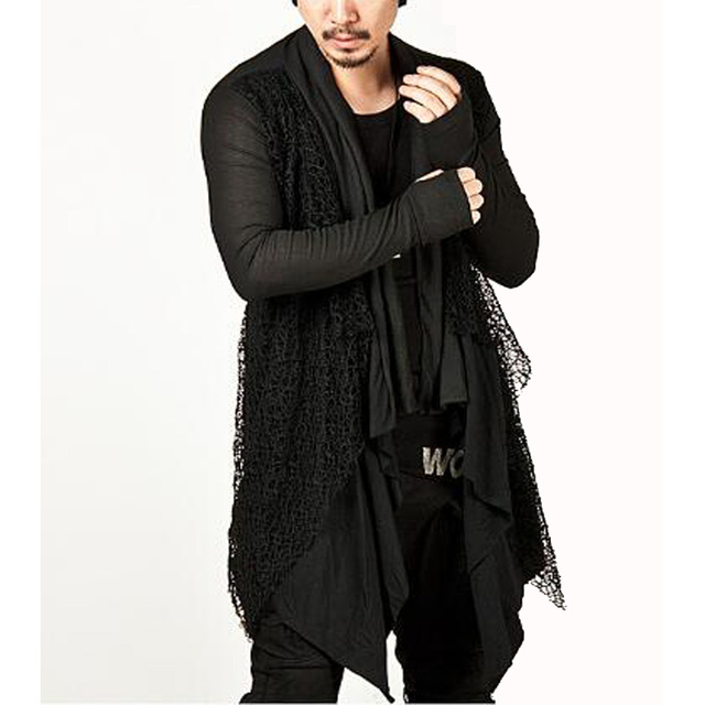 Plus Size New Trendy Mens Knitted Tops Avant-garde Unique Mesh Accent Arm Warmer Shawl Cardigan Long Sleeve Coat Size M-3XL 3