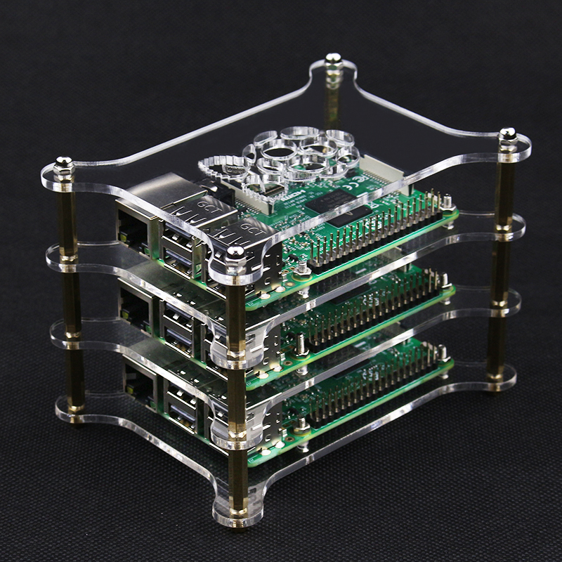 Raspberry Pi 5 Layer Stackable Dog Bone Case Enclosure with Cooling Fans