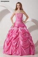 Hot Pink Elegant Quinceanera Dresses 2017 Sweet 16 Dresses Appliques Beading Ball Gown Vestidos De 15