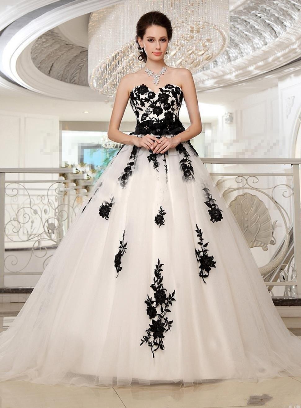 Black White Champagne Wedding Dresses Princess Plus Size Lace