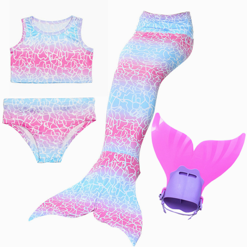 6Colors Fancy Mermaid Tail With Mono fin Costume Cosplay Swimsuit Children Girls Bikini Swimming Set