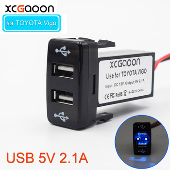 XCGaoon Special 5V 2.1A 2 USB Interface Socket Charger Adapter For TOYOTA Hilux VIGO Charge for iPhone Smartphone GPS DVR image