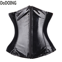 zipper corset underwear leather lady Corsets and Bustiers Sexy Lingerie waist trainer Slimming Shaper black tight lacing corset