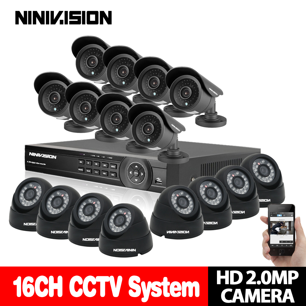 NINIVISION Home HD 16CH AHD 1080P DVR Kit CCTV Video System 8PCS 2.0MP Outdoor +8PCS Dome indoor Security Camera set 16 channel full hd 16 channel 1080p ahd dvr kit 16pcs video surveillance security outdoor indoor 720p camera 1 0mp camera 16ch cctv system