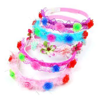 Women Girls LED Flashing Bridal Headwear Adjustable Buttons Faux Pearl Crochet Lace Decor Headband Bridal Dancing Party Props Bridal Headwear