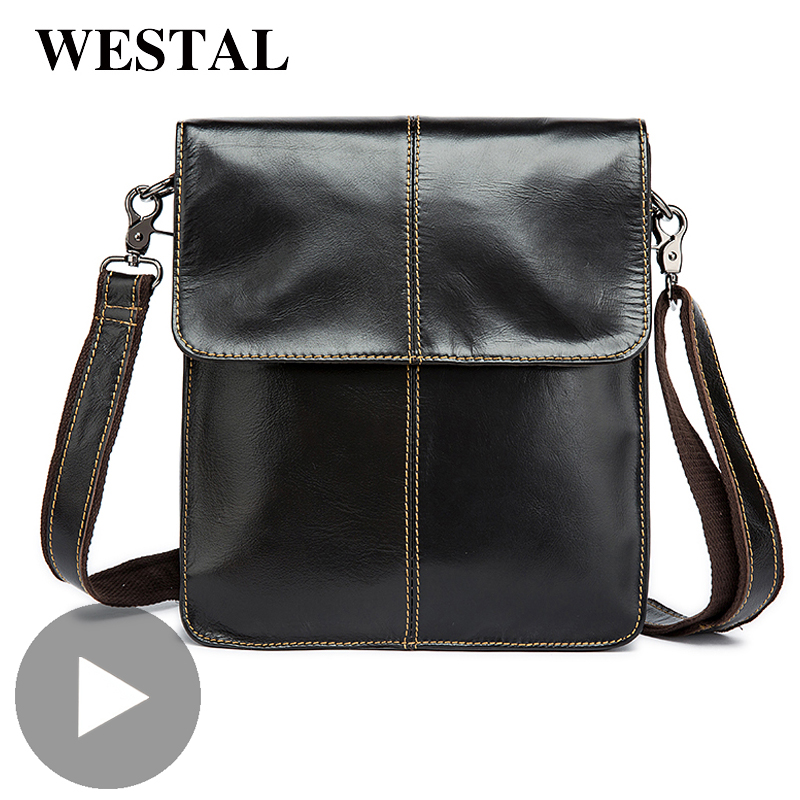 Westal Genuine Leather Messenger Shoulder Women Men Bag Briefcase Office Business Work For Handbag Male Female Tablet Document