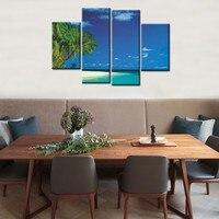 4ชิ้นภูมิทัศน์จิตรกรรมสีฟ้าท้องฟ้าทะเลชายหาดมะพร้าวต้นไม้ศิลปะHDรูปภาพModern Homeตกแต่งผนังผ้าใ...