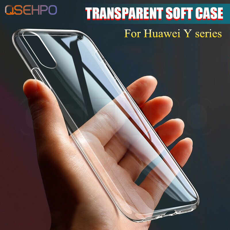 Ultra Thin Clear Silicone Case For Huawei Y7 Y5 Y6 Prime 2018 Soft Transparent cover Coque for Huawei Y6 Pro Y7 Y9 2019 Y7s Case