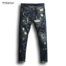 MORUANCLE New Arrival Men s Ripped Patch Jeans Pants Male Straight Distressed Denim Trousers With Patches