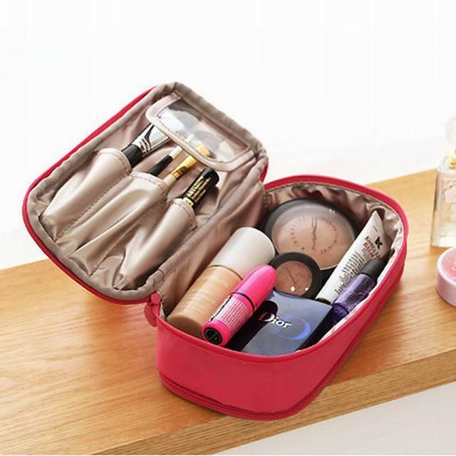 Venta caliente de moda estilo del lado del doble bolsa de belleza Make Up casos cosméticos Storage Bag In Bag alta calidad del monedero