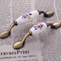 Bronce Como Armario De Aleación De Zinc Manija De Cerámica China Rural Gabinete Armario Tiradores Tulipanes Impreso 0926