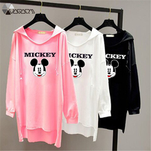 Women Spring Autumn Hooded T Shirt Long Sleeve Mickey Mous Casual Pullover Loose Shirts Bat Tops Plus Size Sweatshirts