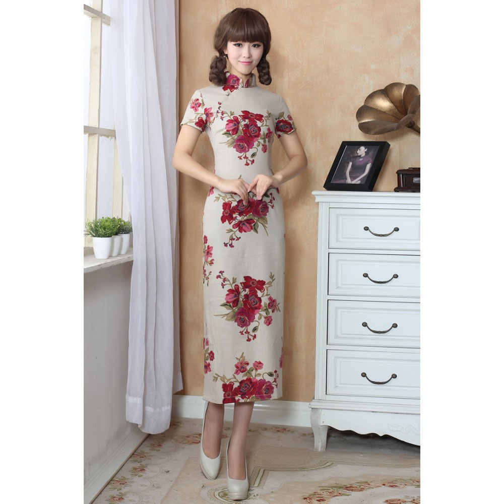 ... Vintage Elegant Women Long Cheongsam Dress Linen Cheongsams Long Qipao  China Chinese Traditional Dress Clothes for ... 37366221b3c0