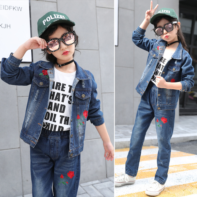 Children Clothes Set For Girls 2018 Spring Autumn Kids Denim Sets Embroidery Jackets Elastic Waist Jeans Tee Girls Clothing Sets 2016 fashion spring autumn girls suits brand designer flower children set sweatshirts coats jeans t girls 3 sets