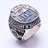 Comercio al por mayor 2011 New York Giants del Super Bowl de Zinc Aleación De plata plateó Replica Anillo de Campeonato Mundial Masculino Deportivos Personalizados