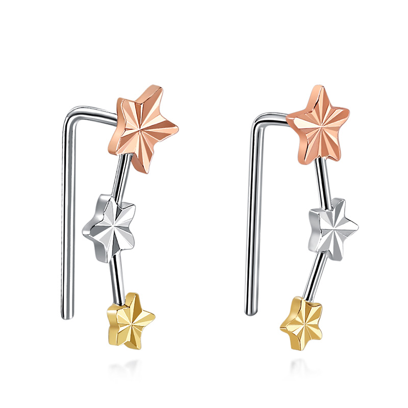 Glitzy 18K Genuine Solid Gold Tri Tone Star Earrings AU750 Clip Pierced for Women Female Fine Jewelry Gift