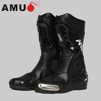 AMU buty motocyklowe męskie skóra z mikrofibry buty motocrossowe wodoodporne Botas obuwie na motor motocykl buty jeździeckie buty motocyklowe tanie i dobre opinie CN (pochodzenie) Skórzane Połowy łydki Windproof Mężczyźni 40 41 42 43 44 45 XBT12