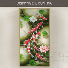 Top Artist Hand-painted High Quality Traditional Chinese 9 Carps Oil Painting Lotus and Fishes