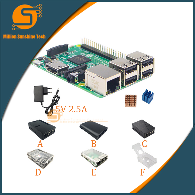 Raspberry Pi 3 Board + 5V 2.5A Power Supply + Case + Heat Sink For Raspberry Pi 3 Model B PI 3 WiFi & Bluetooth Free Shipping dual mc33886 motor driver board dc 5v 2a for smart car raspberry pi a b 2b 3b