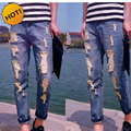 Fashion Teenagers Hole Ripped Jeans Men Distressed Slim Fit Pencil Pants Boys Casual Hip Hop Ankle Length Biker Pants 28-34