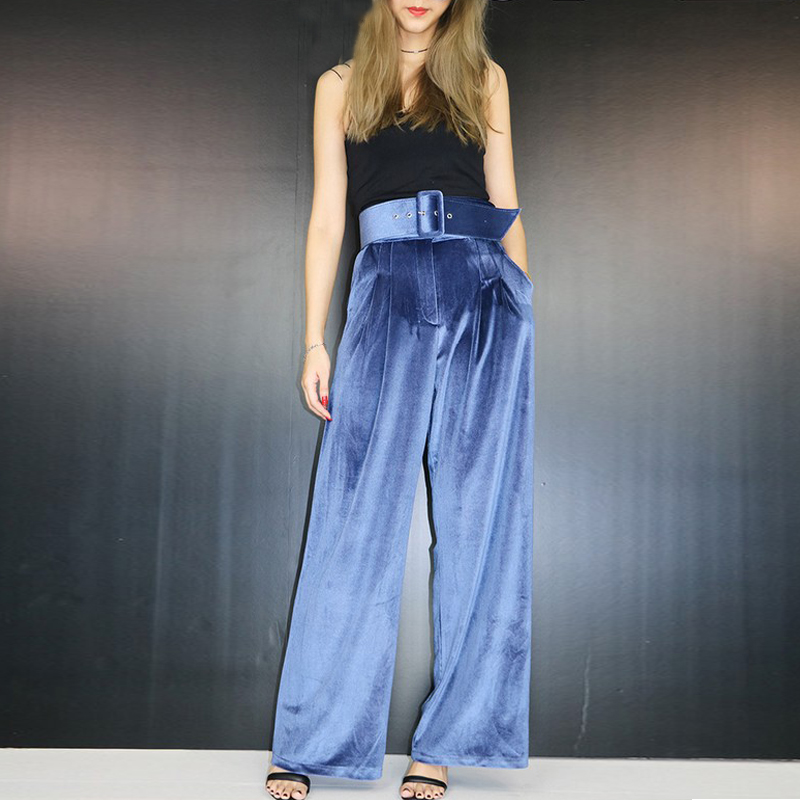 female high waist gold velvet wide leg pants female loose thin straight trousers dragging casual pants autumn and winter