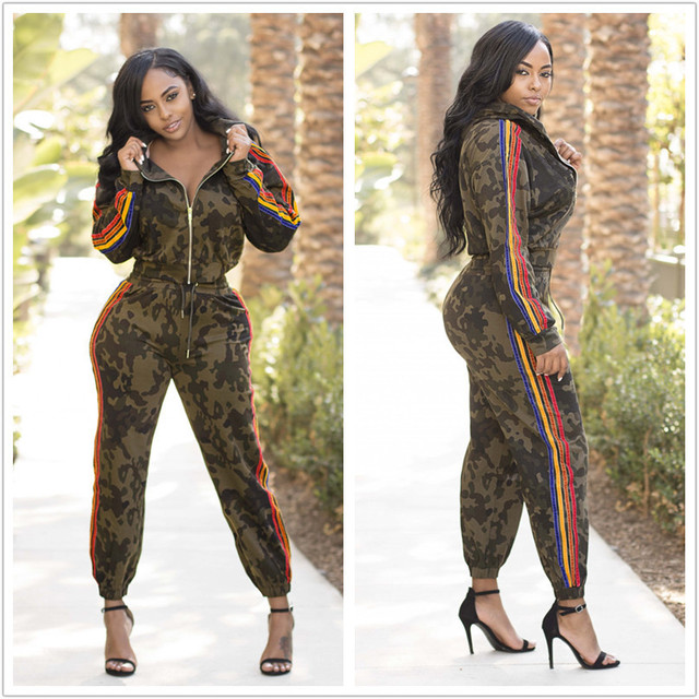 c624626b9811 Side Colorful Striped Jumpsuit Women Long Sleeve Camouflage Print Overalls  For Women Winter Body Femme LA813