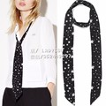 3 types Kate Moss for EQ 100% real silk black white star print scarf ladies scarves ribbon