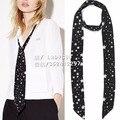 3 types Kate Moss for EQ 100% real silk black white star print scarf ladies scarves ribbon