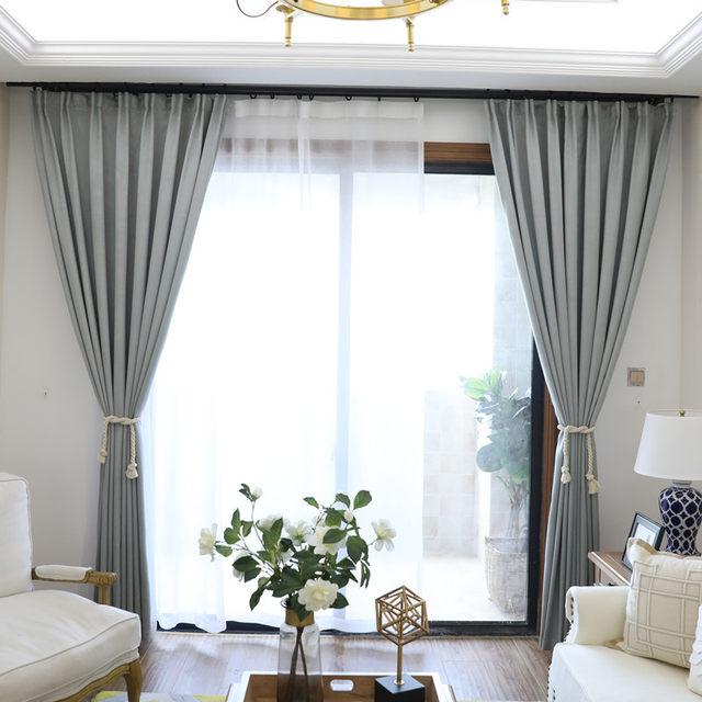 Online Shop MYRU Nieuwe collectie effen kleur grijs gordijnen ...