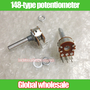 2pcs 148-type double curved foot potentiometer A10K 20K 50K 100K 250K 500K / handle 30MMF / stepper with 41 points
